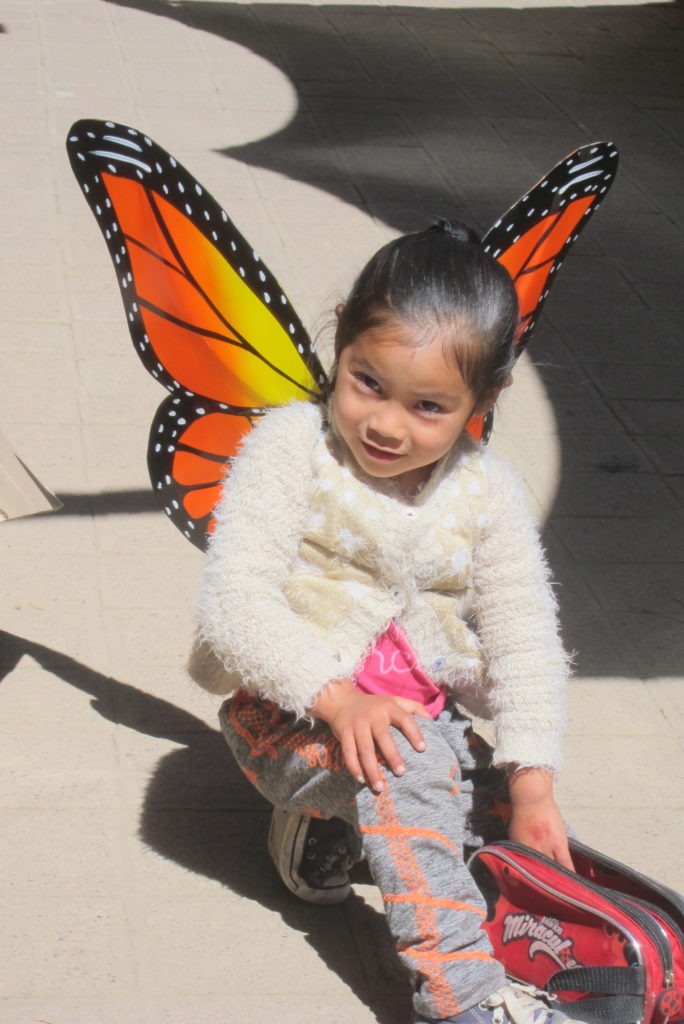 Daughter of a vendor at the Monarch Sanctuary modeling her wings