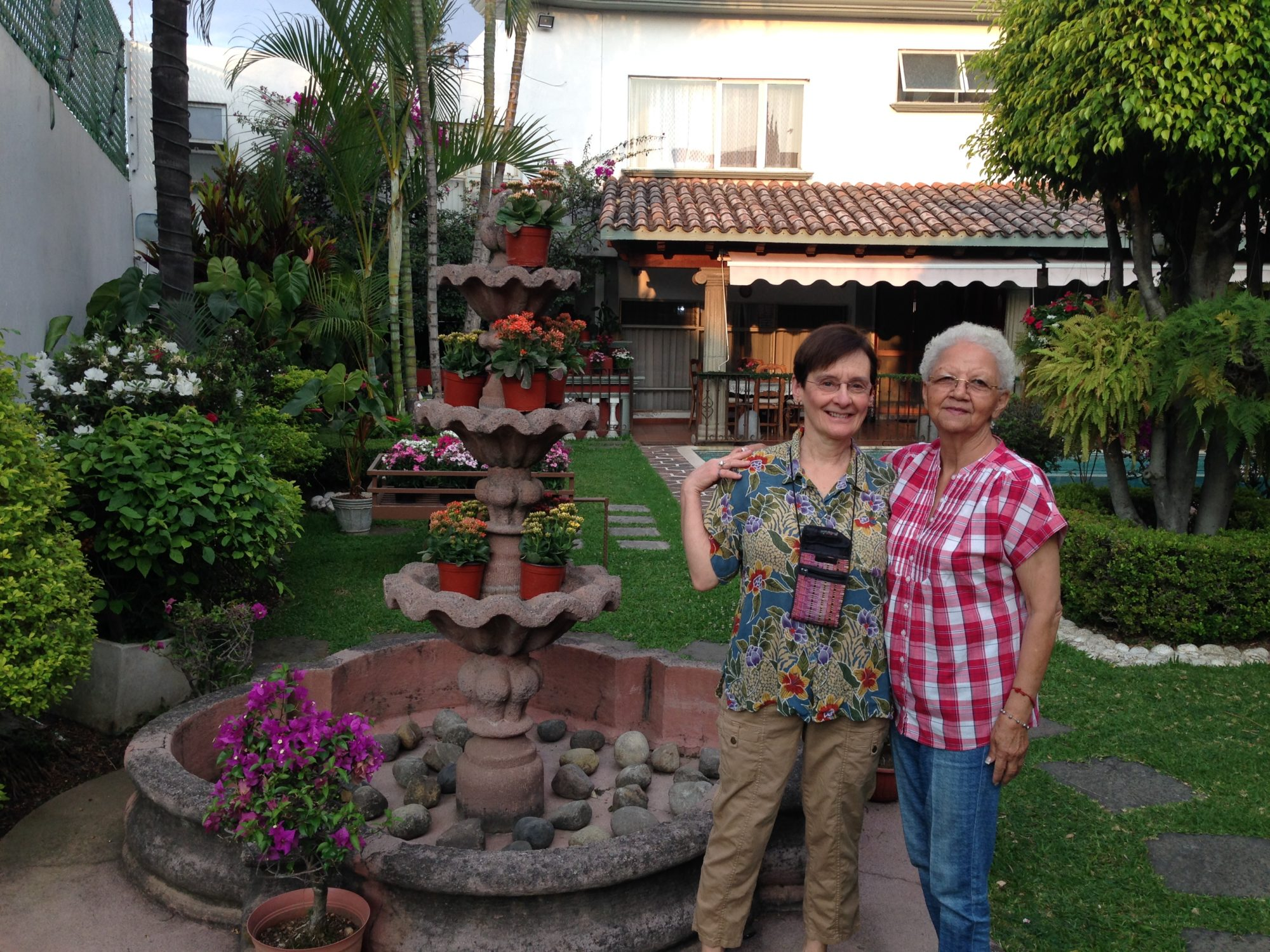 """Jan with Rosita, her Cuernavaca host """"mother"""" since the first Brainerd High School student trip exchange in 1985. Rosita is one of the owners and directors of present day SLI, Spanish Language Institute, in Cuernavaca, location of most recent Central Lakes College Spring Student travel-study in March, 2019."""