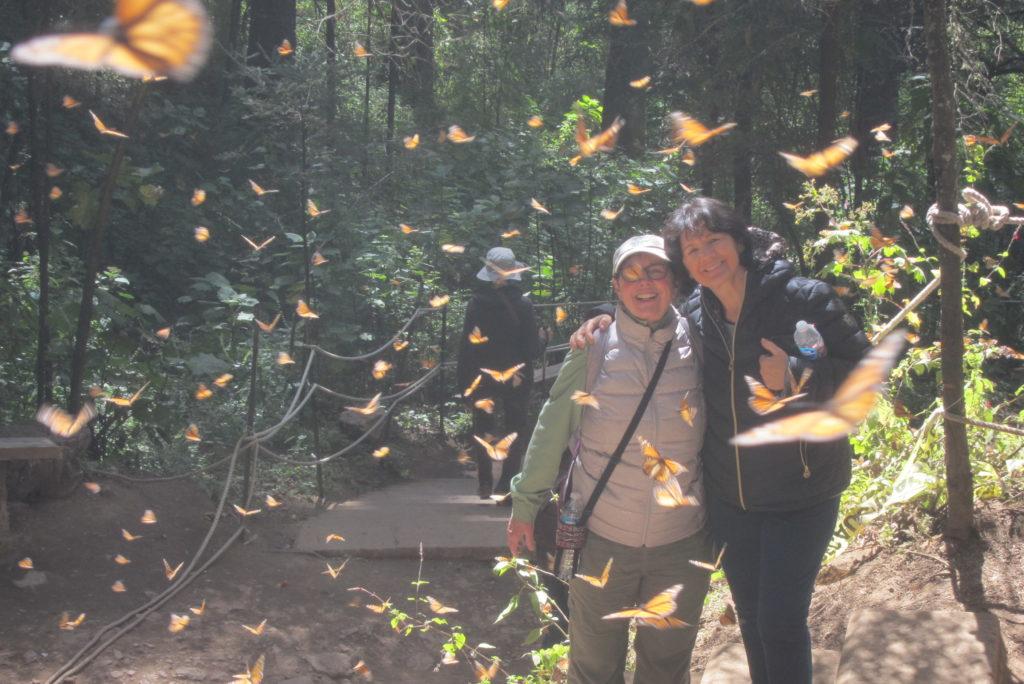 Maru, leader of the Spanish Language Institute of Cuernavaca, poses with a tour/student, Barbara, from Minnesota at the Rosario Monarch Butterfly Sanctuary