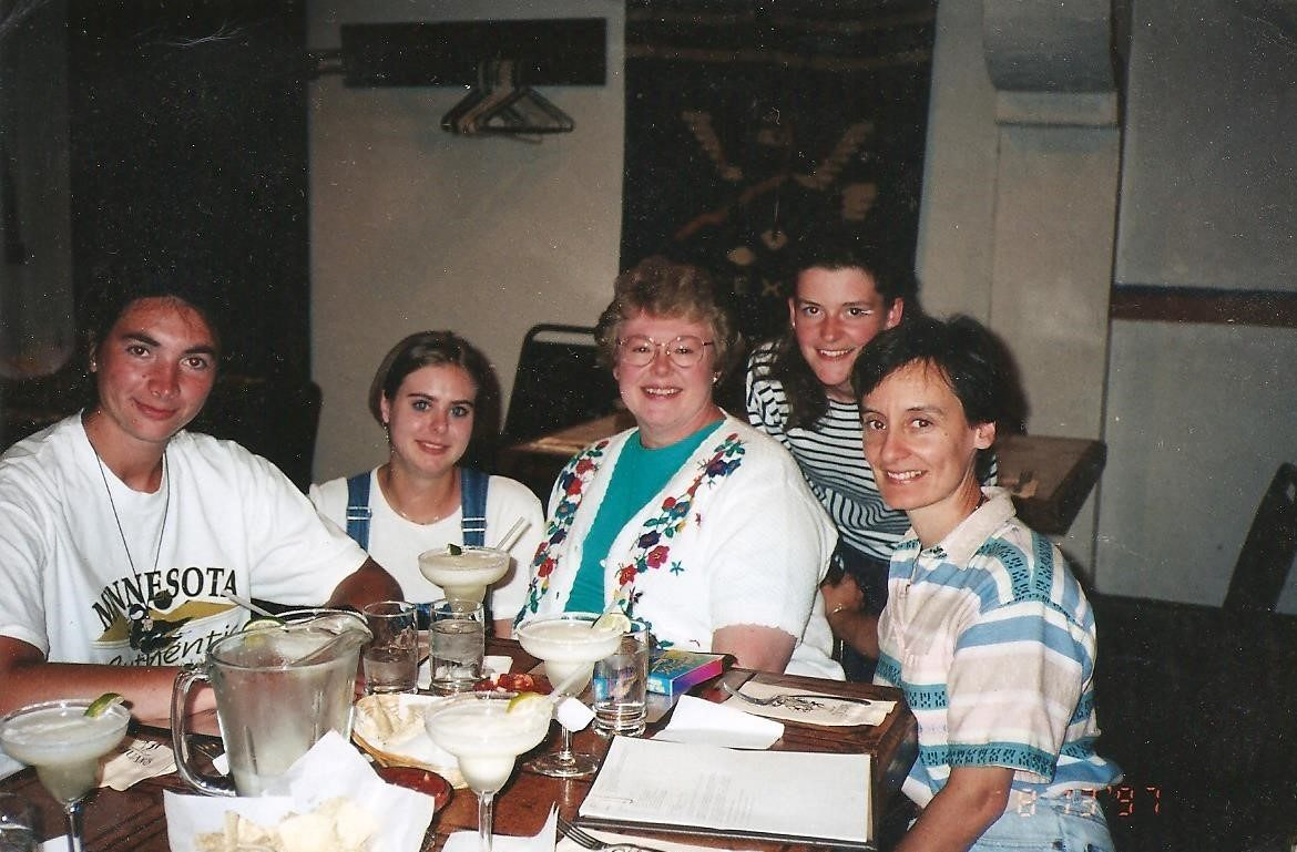 The first Amity exchange Teachers to arrive at Brainerd High School in 1997 were (Left to Right): Angels (Spain), Cristiana (Germany), AMITY coordinator and Spanish teacher, Profesora Edith, Fabienne (France) and me, Profe Jan